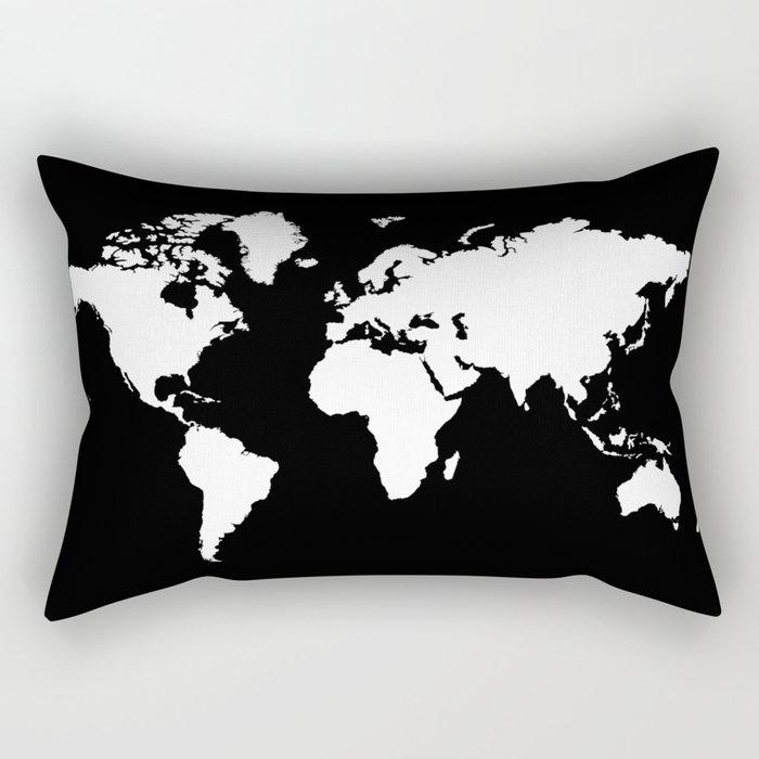 Black And White World Map Rug: Black White World Map Rectangular Pillow By Haroulita