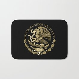 Mexican flag seal in sepia tones on black bg Bath Mat