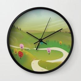 Cartoon hilly landscape Wall Clock