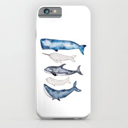Watercolor orca whale, spermwhale, humpback, narwhal, beluga whales iPhone Case