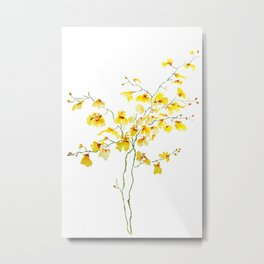 yellow Oncidium Orchid watercolor Metal Print