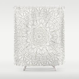 Gray Circle of Life Mandala on White Shower Curtain