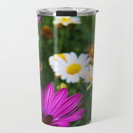 Flowers and the little Honey bee Travel Mug