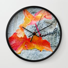 Red Leaves Growing by the Wall. Autumn, Fall Wall Clock