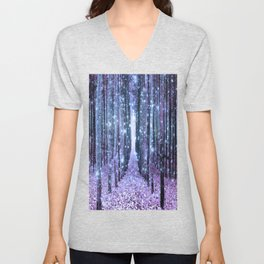 Magical Forest Lavender Ice Blue Periwinkle Unisex V-Neck