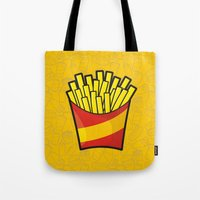 french fries Tote Bags featuring French Fries by Sifis