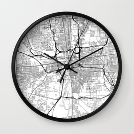 Columbus Map White Wall Clock