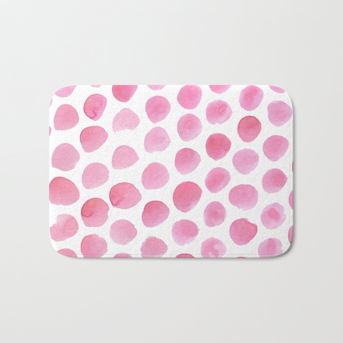 Pink Polka Dot Watercolour Bath Mat