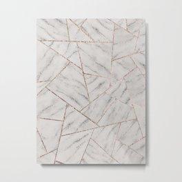 White Marble Silver Glitter Geometric Glam #1 (Faux Glitter) #geo #decor #art #society6 Metal Print