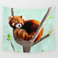 red panda Wall Tapestries featuring Red Panda by Whitney Silva