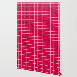 Carmine (M&P) - fuchsia color - White Lines Grid Pattern Wallpaper