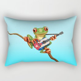 Tree Frog Playing Acoustic Guitar with Flag of Cuba Rectangular Pillow