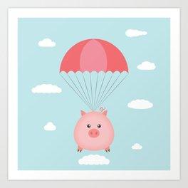 Baby Pig in a Parachute Art Print