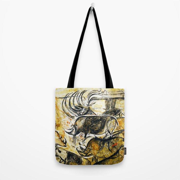 Panel of Rhinos // Chauvet Cave Tote Bag