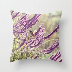 hummingbird + flowers Throw Pillow