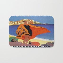 Vintage poster - La Plage de Calvi, La Corse, France Bath Mat