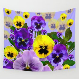 SPRING PURPLE & YELLOW PANSY FLOWERS Wall Tapestry