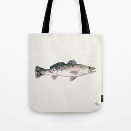 """Spotted Sea Trout"" by Amber Marine - Cynoscion nebulosus ~Watercolor Illustration, (Copyright 2013) Tote Bag"