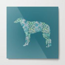 Borzoi Dog Vintage Floral Pattern Teal Blue Green Turquoise Metal Print