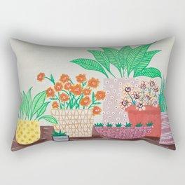 Plants in Printed Pots Rectangular Pillow