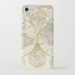 Vintage Map Print - 1699 Map of the World in East and West Hemispheres iPhone Case