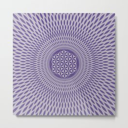 Flower of life Ultra violet on misty lilac Metal Print