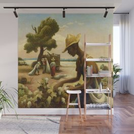 Classical Masterpiece 'Picking Cotton Under the Sun' by Thomas Hart Benton Wall Mural