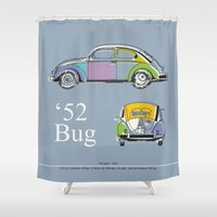 bug Shower Curtains featuring '52 Bug by k_design