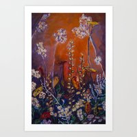 Flora in orange Art Print