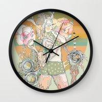 blush Wall Clocks featuring blush by Cassidy Rae Marietta