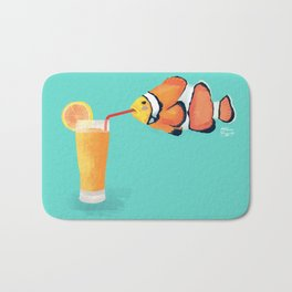 The Clown Fish Drinks Bath Mat