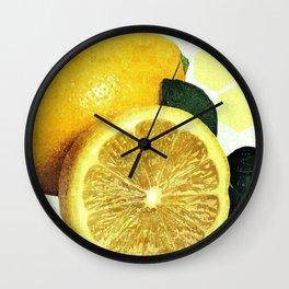 Tropical Print - Lemon - Fruit - Yellow, Green - Modern Wall Art Print - Tropical Poster Wall Clock