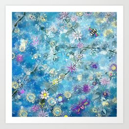 Bohemian BLue Watercolor Floral Art Print