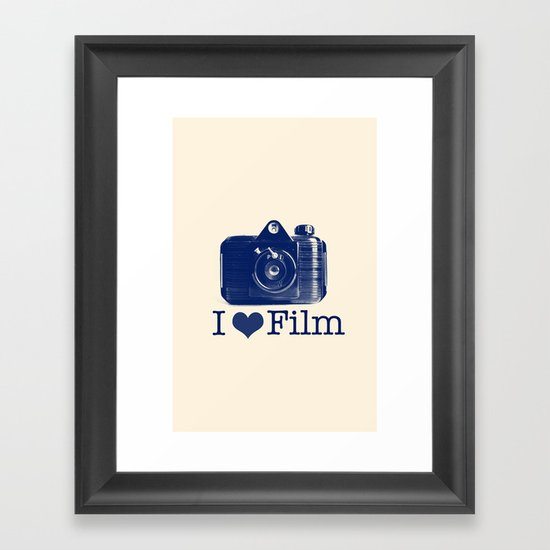 I ♥ Film (Blue/Peach) Framed Art Print