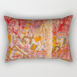 The Red Wall Rectangular Pillow