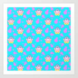 Cute sweet little baby penguins flapping wings, bold pink retro dots pretty blue girly pattern Art Print