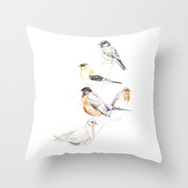 Birds of the Midwest Throw Pillow