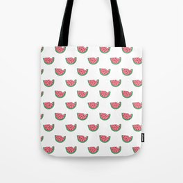 Watermelon - Summer Doodle Pattern in Pink and Green on White Background Tote Bag