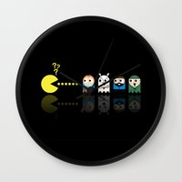 tintin Wall Clocks featuring Pacman with Tintin Ghosts by NicoWriter