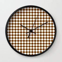 Small Diamonds - White and Chocolate Brown Wall Clock