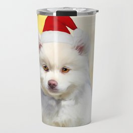 American Eskimo Dog Christmas Santa Hat Travel Mug
