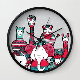 Doodle Animal Friends Pink & Grey Wall Clock