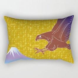 Eagle and Mt,Fuji on Gold-leaf Screen Rectangular Pillow