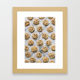 Chocolate Chip Cookies Marble Background Framed Art Print