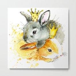 rabbit Princess T-shirt graphics. rabbit Princess illustration with splash watercolor textured backg Metal Print
