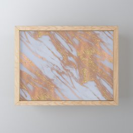 Marble - Rose Gold Marble with Yellow Gold Glitter Framed Mini Art Print