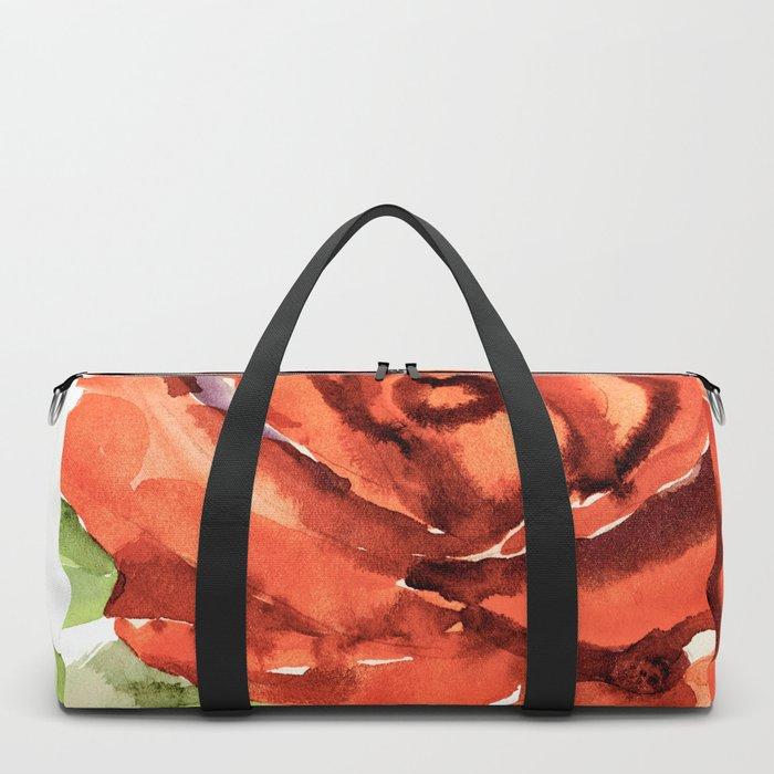 Red Rose In Bloom, Watercolour Sketch Duffle Bag