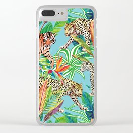 tiger and leopard in the jungle pattern Clear iPhone Case