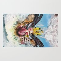 clockwork Area & Throw Rugs featuring Clockwork Heart by Jay Haldon