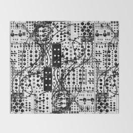 analog synthesizer system - modular black and white Throw Blanket